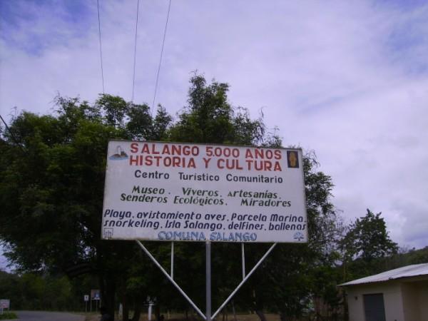 Letrero en Salango