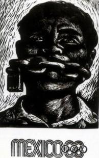 """Gráfica de la época, """"México 68"""", grabado en linóleo de Adolfo Mexiac"""