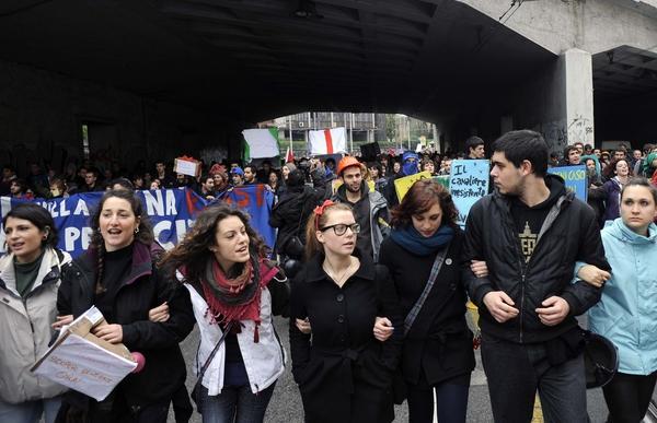 Estudiantes en manifestación
