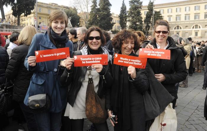 Mujeres durante la jornada de protesta