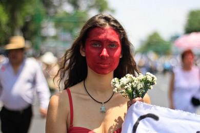 Durante la Marcha por la Paz en la Ciudad de México