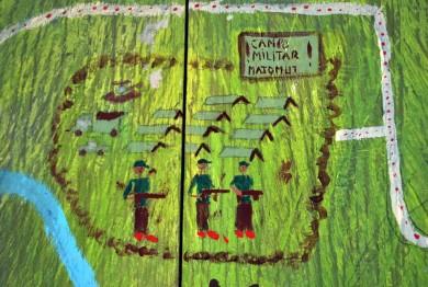 Mural del campo militar de Acteal