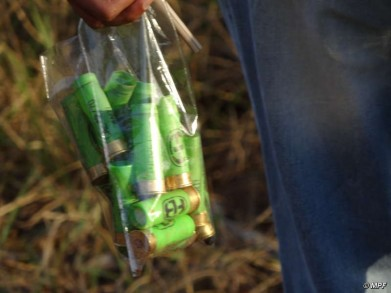 Balas de borracha recolhidas pela PF no acampamento