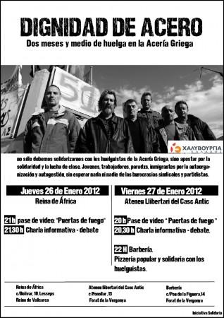 Cartel de acto de solidaridad en Barcelona