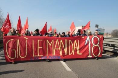 Manifestación de la CGIL contra la reforma