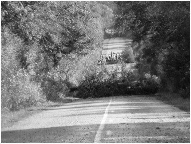 Barricada en la carretera de acceso a la ZAD