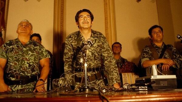 Brigadier General José Efraín Rios Montt, flanked by General Horacio Egberto Maldonado Schaad and Colonel Francisco Luis Gordillo Martínez, at first press conference on 23 March 1982, National Palace, Guatemala City.