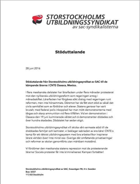 solidaridad Sindicato Educación Suecia