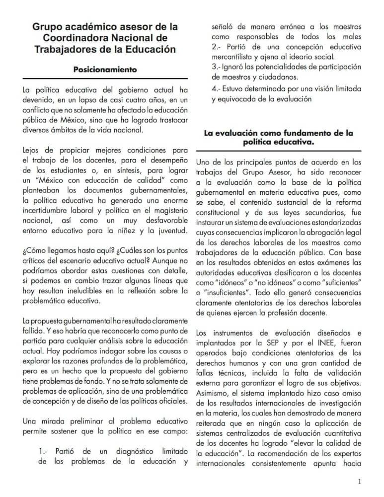posicionamiento asesores CNTE 1