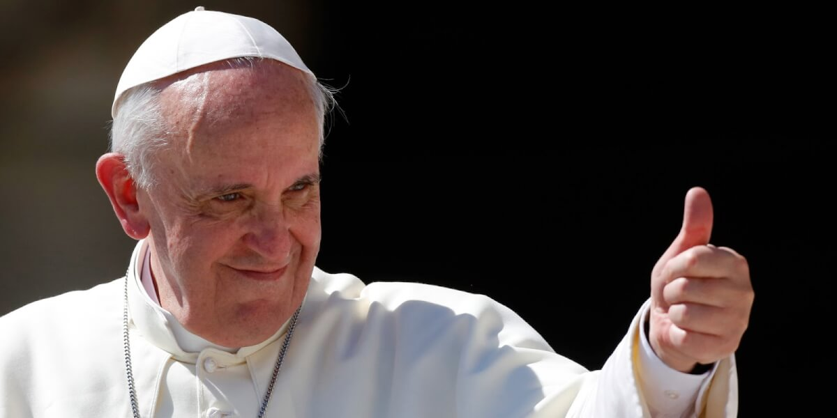 Pope Francis gives his thumb up as he leaves at the end of his weekly general audience in St. Peter's square at the Vatican, Wednesday, Sept. 4, 2013. (AP Photo/Riccardo De Luca)