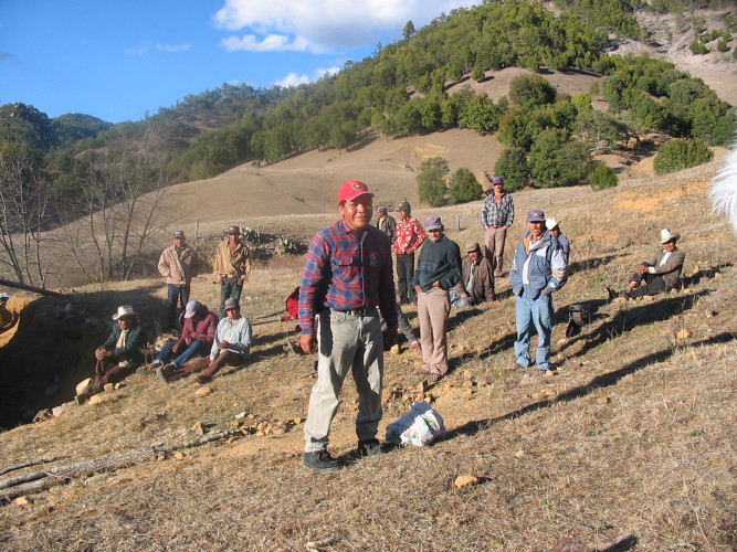 Isidro Baldenegro López (in foreground), 2005 Goldman Environmental Prize Winner, North America (Mexico), at home in the village of Coloradas de la Virgen, Chihuahua, where he opposes illegal logging operations.