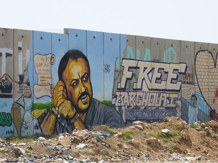 Muro en Cisjordania con el rostro de Marwan Barghouti