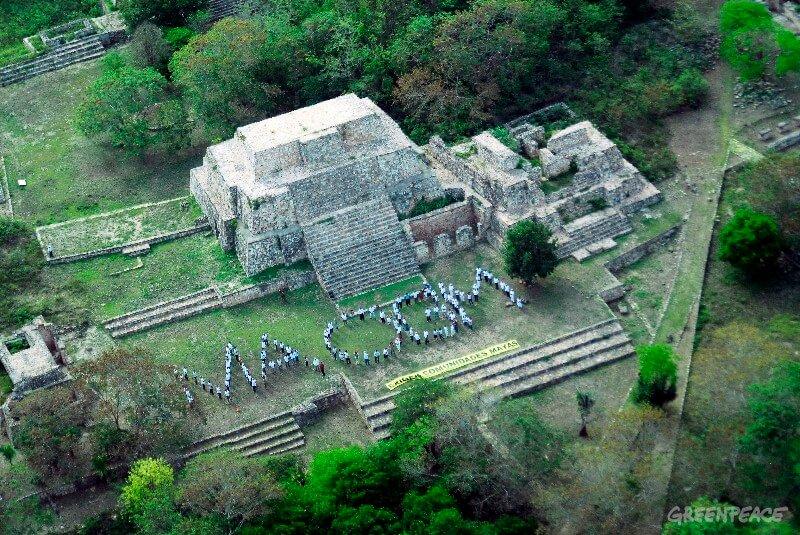 """Este domingo, alrededor de 2 mil persona: comunidades mayas, apicultores, empresarios de Yucat‡n, Campeche y Quintana Roo, as' como organizaciones no gubernamentales se dieron cita en 8 sitios arqueol—gicos y un campo de cultivo de la Pen'nsula de Yucat‡n para formar con sus cuerpos el mensaje maya: """"MA-OGM"""" (No Organismos GenŽticamente Modificados), por sus siglas en espa–ol; para exigir a las autoridades locales y federales que garanticen este territorio libre de transgŽnicos. Greenpeace / Guadalupe Szymanski."""