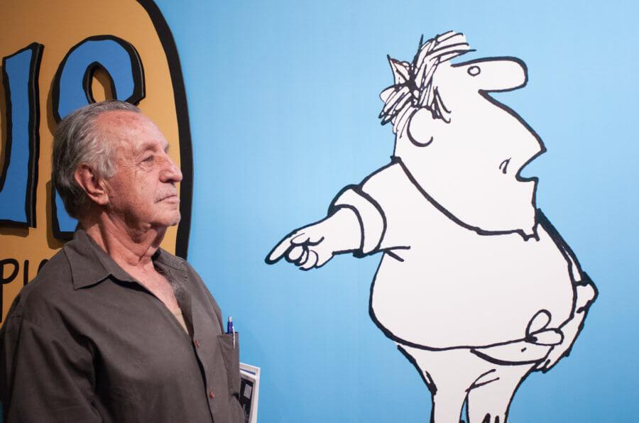 """CIUDAD DE MÉXICO, 08AGOSTO2017.- El gobierno del Estado de Morelos confirmó el fallecimiento de el caricaturista Eduardo del Río, """"Rius"""" (1934-2017), a los 83 años de edad. En la imagen el caricaturista durante la inauguración de la exposición """"Rius para principiantes"""" en el Museo del Estanquillo en 2014. FOTO: ARCHIVO / IVÁN STEPHENS /CUARTOSCURO.COM"""