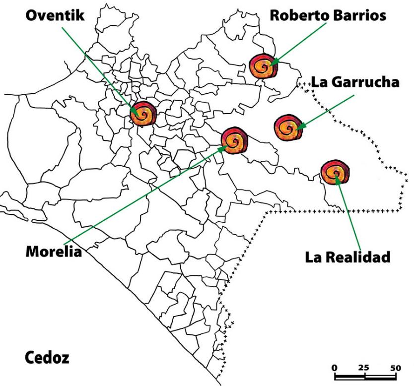 caracoles ubicación